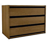 Walnut effect Foil-wrapped particle board 3 Drawer Chest of drawers (H)600mm (W)800mm (D)450mm