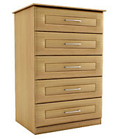 Chasewood Oak effect 5 drawer chest (H)1130mm (W)600mm (D)500mm