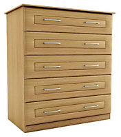 Chasewood Oak effect 5 drawer chest (H)1130mm (W)800mm (D)500mm