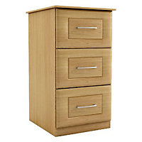 Chasewood Oak effect 3 drawer chest (H)775mm (W)350mm (D)500mm