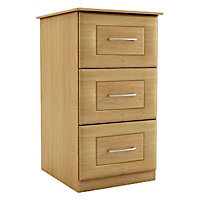 Darwin Oak effect Foil-wrapped particle board 3 Drawer Chest of drawers (H)775mm (W)600mm (D)500mm