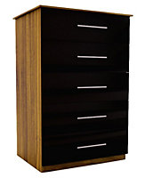 Chasewood Black Gloss 5 drawer chest (H)1130mm (W)600mm (D)500mm