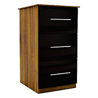 Chasewood Black Gloss 3 drawer chest (H)775mm (W)600mm (D)500mm