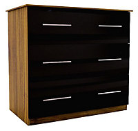Chasewood Black Gloss 3 drawer chest (H)775mm (W)800mm (D)500mm