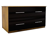 Gloss black Foil-wrapped particle board 2 Drawer Chest of drawers (H)575mm (W)800mm (D)500mm