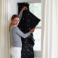 Corded Black Patterned Roller blind (W)200cm (L)130cm