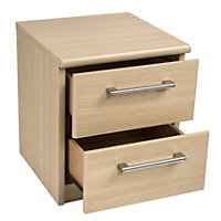 Form Elsey Oak effect Matt 2 Drawer Bedside chest (H)444mm (W)386mm (D)375mm