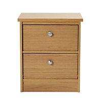 Kendal Oak effect Matt 2 Drawer Bedside chest (H)560mm (W)480mm (D)400mm