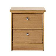 Kendal Matt oak effect 2 Drawer Bedside chest (H)560mm (W)480mm (D)400mm