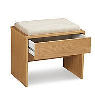 Kendal Oak effect Matt Dressing table stool (H)470mm (W)520mm (D)360mm