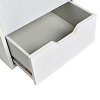 Hartnett Soft white Matt 2 Drawer Bedside chest (H)435mm (W)450mm (D)388mm