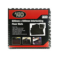 Auto Pro Interlocking EVA foam Black Floor mats, Pack of 6