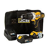 JCB 18V 2Ah Li-ion Cordless Combi drill 2 batteries JCB-18CD-2