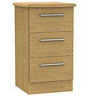 Montana Oak effect 3 Drawer Bedside chest (H)700mm (W)400mm (D)410mm