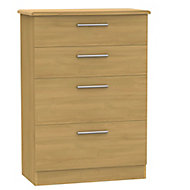 Montana Oak effect 4 Drawer Chest (H)1080mm (W)770mm (D)410mm