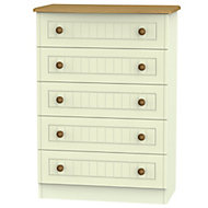 Warwick Cream Oak effect Matt 5 Drawer Chest (H)1075mm (W)765mm (D)415mm