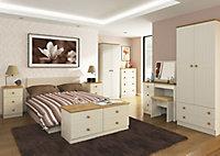 Warwick Matt cream oak effect 3 Drawer Desk (H)795mm (W)930mm (D)415mm