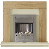 Adam Ferndown Cream Oak effect Electric Fire Suite