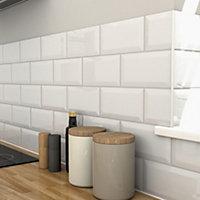 Trentie White Gloss Ceramic Wall tile, Pack of 48, (L)200mm (W)100mm