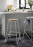GoodHome Maloux Natural Oak Bar stool