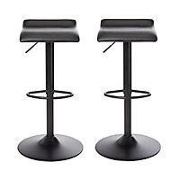 Karonda Black Adjustable Swivel Bar stool, Pack of 2
