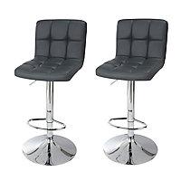 Cooke & Lewis Lagan Dark grey Adjustable Swivel Bar stool, Set of 2