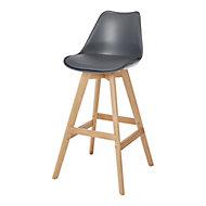 GoodHome Pitaya Dark grey Bar stool