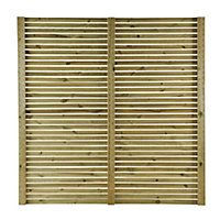 GoodHome Lemhi Contemporary Closeboard Venetian Fence panel (W)1.8m (H)1.8m