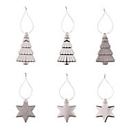Silver Gloss & matt Glitter effect Star & tree Bauble, Pack of 12