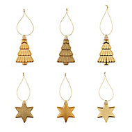 Gold Gloss & matt Glitter effect Star & tree Bauble, Pack of 12