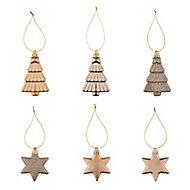 Champagne Gloss & matt Glitter effect Star & tree Bauble, Pack of 12