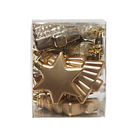 Champagne Gloss & matt Glitter effect Star & tree Bauble, Pack of 12