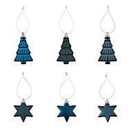 Moroccan blue Gloss & matt Glitter effect Star & tree Bauble, Pack of 12