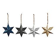 Multicolour Matt Star Decoration, Pack of 12