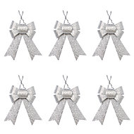 Silver Glitter effect Bow Decoration, Pack of 6