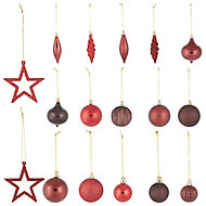 Red Gloss & matt Glitter effect Bauble, Pack of 40