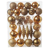 Gold Gloss & matt Glitter effect Bauble, Pack of 40