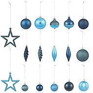 Blue Gloss & matt Glitter effect Bauble, Pack of 40