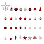 Traditional Assorted Red & white Silver glitter effect Bauble, Pack of 120