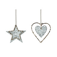 Silver Metallic & glitter effect Star & heart Decoration, Set of 2