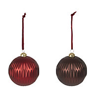 Red Matt Bauble, Set of 2