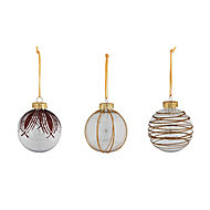 Clear Glitter effect Ornate Bauble, Set of 3