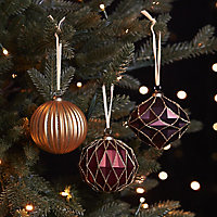 Red Matt Glitter effect Ornate Bauble, Set of 3