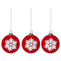 Red & white Bauble Decoration, Set of 3