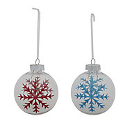 Red & blue Glitter effect Bauble, Set of 2