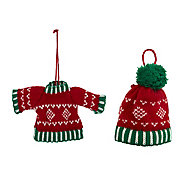 Red & green Hat & jumper Decoration, Set of 2