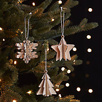 Natural Silver glitter effect Star, snowflake & tree Decoration, Set of 3