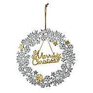 28cm Aged metal Merry Christmas Christmas wreath