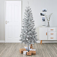 6ft Orelle Silver tinsel Artificial Christmas tree
