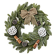 Large Bow & pine cone Wreath